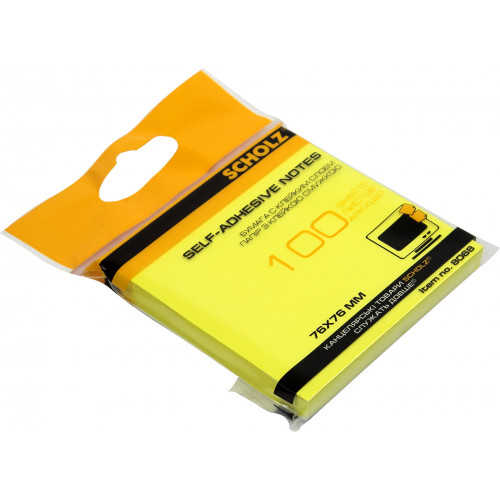 Блок для заміток з липким шаром 76х76 мм 100 аркушів неоновий жовтий Sсholz (48) 8068