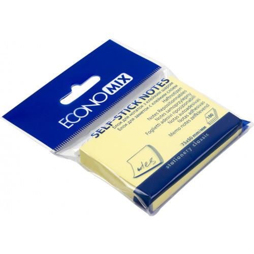 Блок для заміток з липким шаром 50х75 мм 100 аркушів жовтий Economix (24) E20931