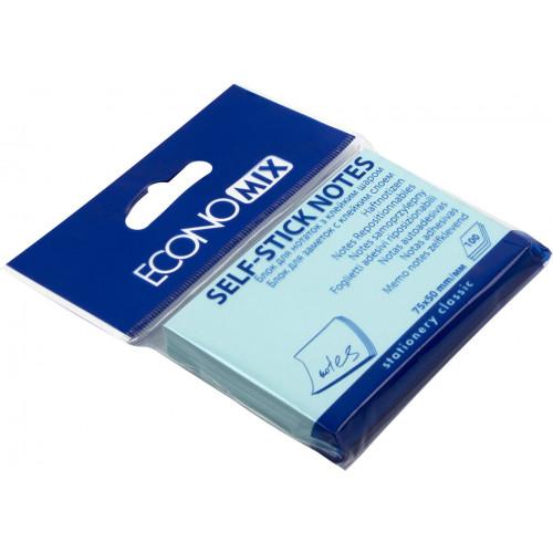 Блок для заміток з липким шаром 50 х75 мм 100 аркушів блакитний Economix (24) E20931-11