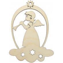 Заготовка фанера игрушка новогодняя Ангел на облаке 9х6,5 см (5)