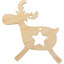 Заготовка фанера игрушка новогодняя Олень со звездой 9х8 см