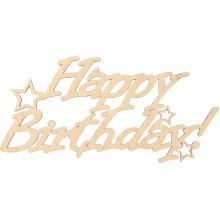 Заготовка фанера надпись Happy Birthday со звездами 18х40 см