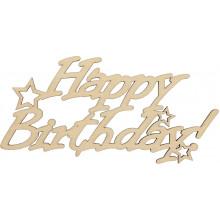 Заготовка фанера надпись Happy Birthday со звездами 7х15 см (5)