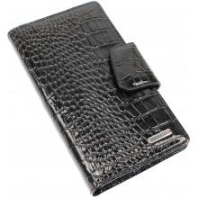 Візитниця Karya з шкіри крокодила лак чорна 008-06