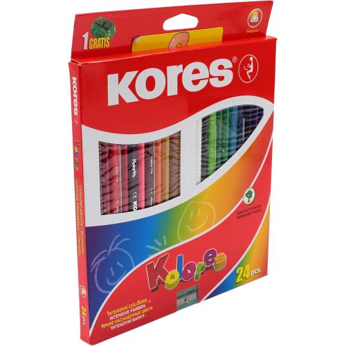 Олівці кольорові 24 кольори Kores трикутні 3 мм з точилкою (6) (48) K93324