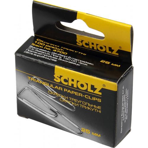 Скріпки Scholz 25мм 100 шт трикутні (10) 4700