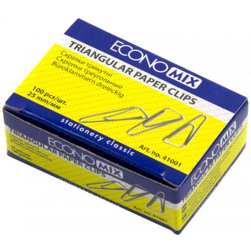 Скріпки 25мм Economix 100 шт трикутні (10) Е41001