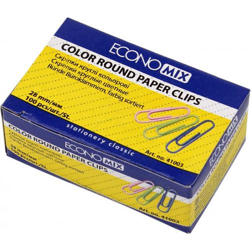 Скріпки Economix 28 мм 100 шт круглі кольорові (10) Е41003
