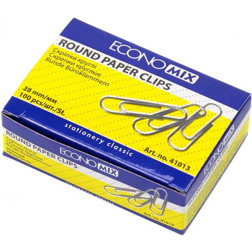 Скріпки Economix 28 мм 100 шт круглі (10) Е41013