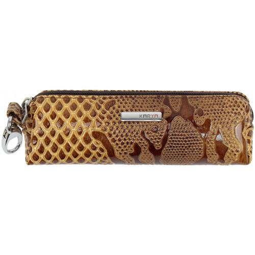 Ключница Karya коричневая,лак,текстура кроко,кожа №436-011