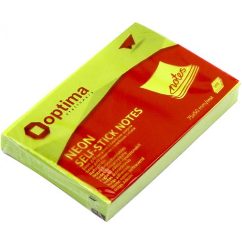 Блок для заміток з липким шаром 75х50 мм 100 аркушів неоновий салатовий Optima (12) O25512-13