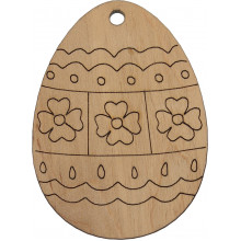 Заготовка фанера декоративное яйцо Цветок 6 см