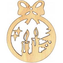 Заготовка фанера игрушка новогодняя Свечи с бантом 6х5 см (5)