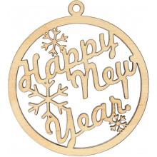 Заготовка фанера игрушка новогодняя Happy New Yer 9х8 см