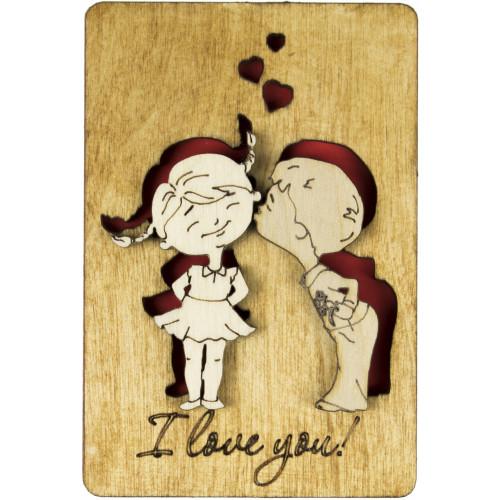 Еко-листівка I Love you 11х7,5см фанера асорті
