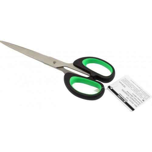 Ножиці офісні Buromax 16,3см зелені вставки (24) 4533-04