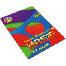 Картон цветной+бумага цветная А4 7+7 Все цвета радуги Тетрада (25)