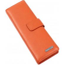 Візитниця на 48 візиток Karya на кнопці шкіряна помаранчева 0012-031