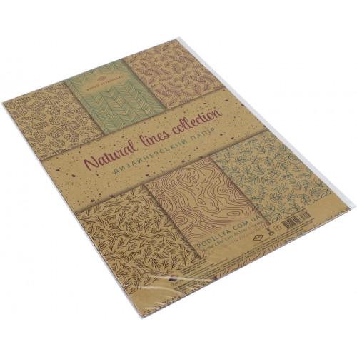 Набір паперу дизайнерський А4 7 аркушів крафт Лінії природи Поділля (1) (360) 18544