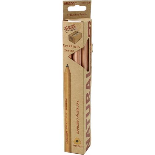 Набiр олівців графітних Marco Natural-Jumbo 6 шт з точилкою трикутна коробка (1) (12) (144) №6050-6CB