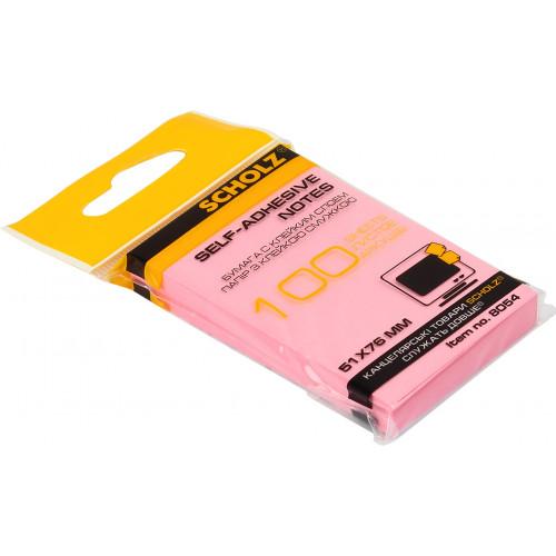 Блок для заміток з липким шаром 51х76мм Sсholz 100 аркушів асорті (6) (48) 8054P