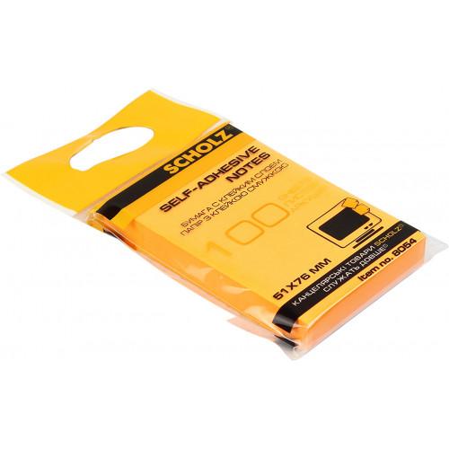 Блок для заміток з липким шаром 51х76мм Sсholz 100 аркушів неоновий асорті (6) (48) 8054N