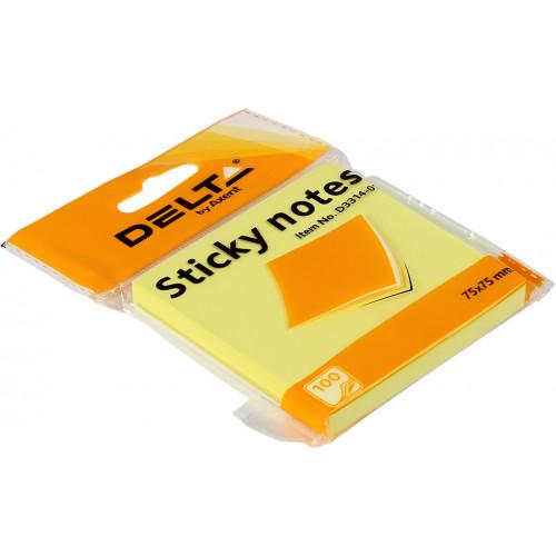Блок для заміток з липким шаром 75х75 мм 100 аркушів жовтий Delta by Axent (1) (24) 3314-01