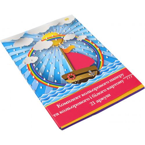 Набір картону і паперу кольорового A4 21 аркуш 777 Тетрада (20)