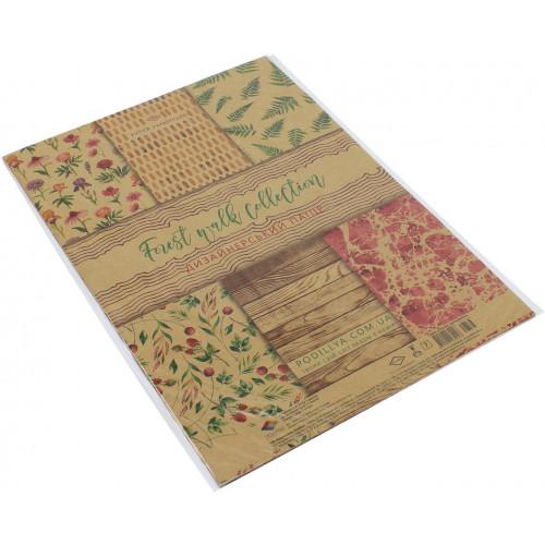 Набір паперу дизайнерський А4 7 аркушів крафт Лісова прогулянка (1) (360) 18536 Поділля