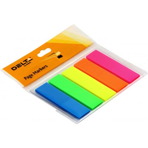 Стікери-закладки Delta by Axent/Axent 12х45 мм прямокутні неонові, 5 кольорів 125 шт (1) (40) 2450-01