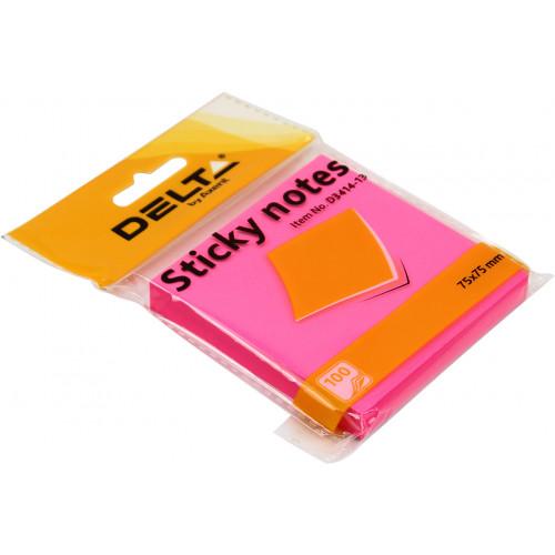 Блок для заміток з липким шаром 75х75 мм 100 аркушів яскраво-рожевий Delta by Axent (1) (24) 3414-13