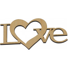 Заготовка фанера надпись Love с сердцем 10х5см (5)
