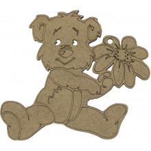 Заготовка из МДФ 3 мм Медведь с цветком 8х9 см