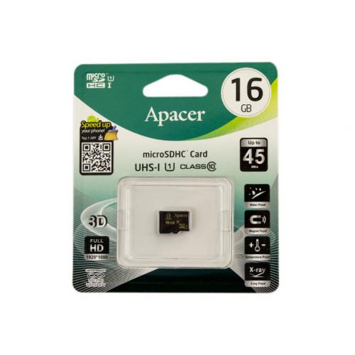 Карта памяти 16Gb Micro-SDHC (UHS-1) Apacer R-45Mb/s class10