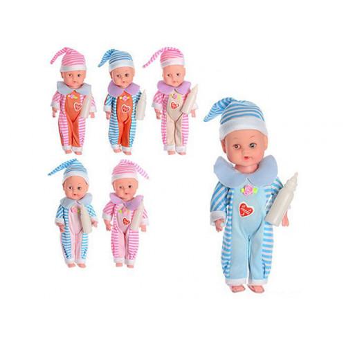 Лялька-пупс на батарейці (таблетки) 20,5см, звук, пляшечка, в кульку, мікс видів 8518 (192)