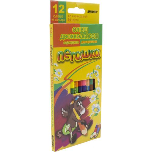 Олівці кольорові 24 кольори/12 шт Marco Пегашка (12) (240) 1011-12