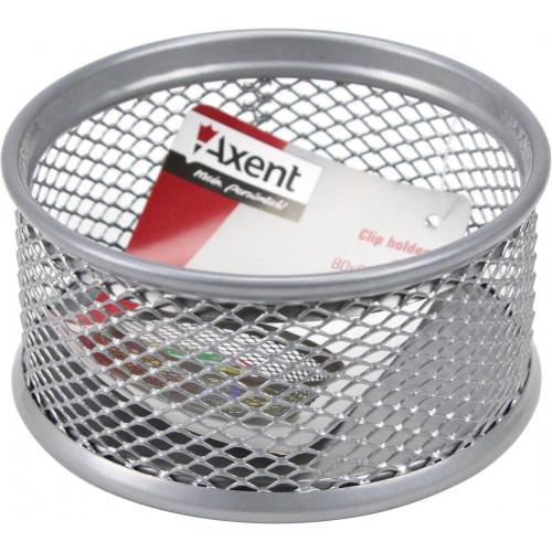 Підставка для скріпок Axent 80х80х40мм металева срібляста (12) 2113-03