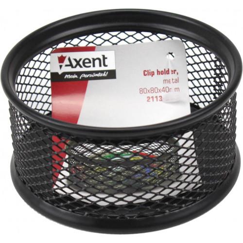 Підставка для скріпок Axent 80х80х40мм металева чорна (12) 2113-01