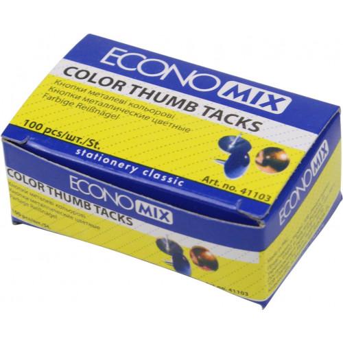 Кнопки-гвоздик Economix неонові 100 шт (10) E41103
