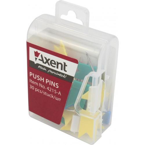 Кнопки-гвоздик Axent (30 шт) Прапорці в пластиковому контейнері (10) 4215