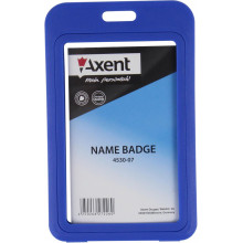 """Бейдж """"Axent"""" вертикальний 50 х84 мм, РР, синій (5) №4530-07"""