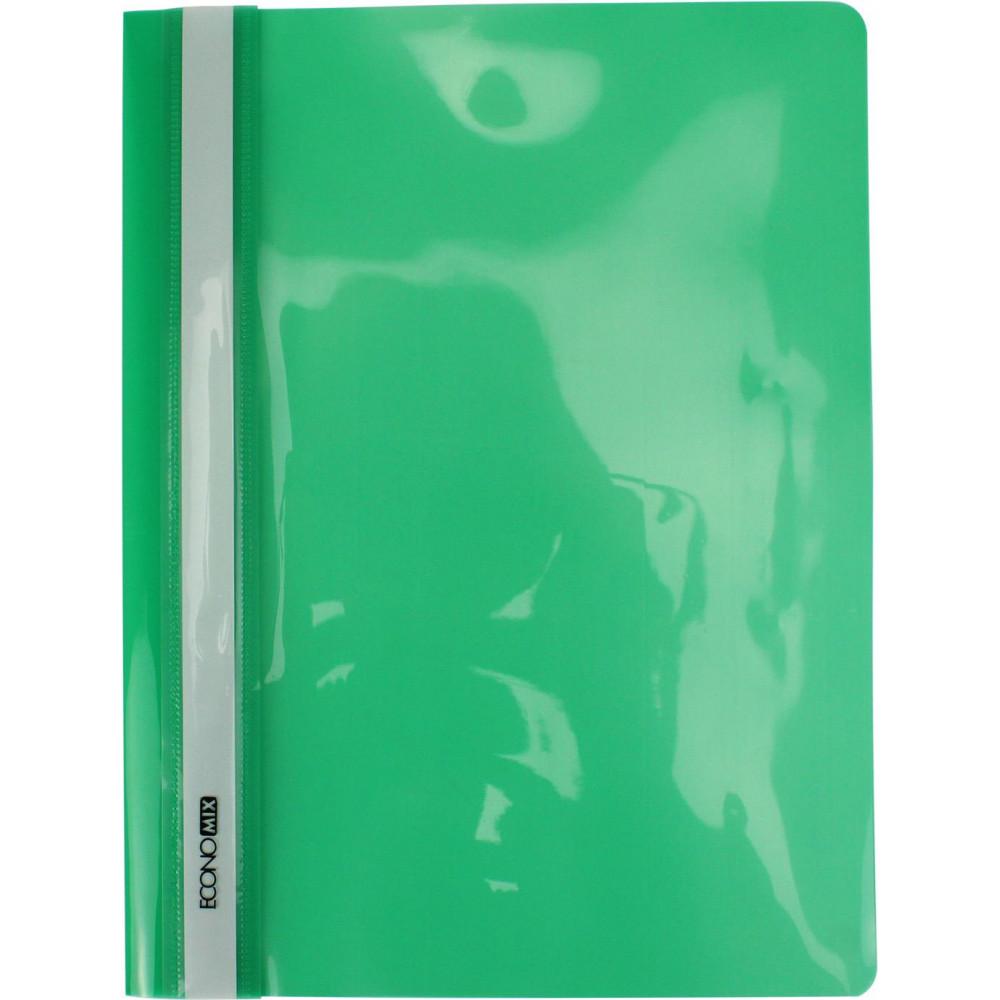Папка-скоросшиватель Economix E31511-04 А4 без перфорации глянцевая прозрачный верх зеленая