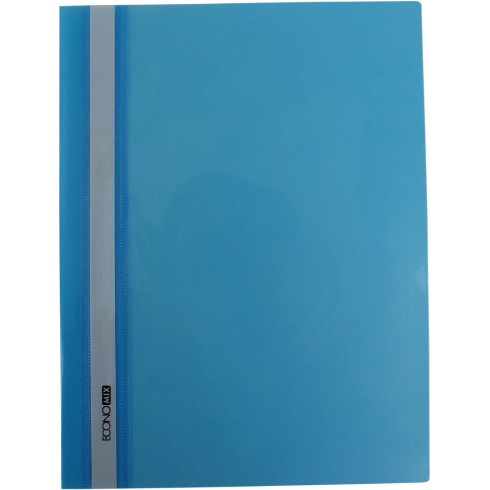 Папка-скоросшиватель Economix E31511-11 А4 без перфорации глянцевая прозрачный верх голубая