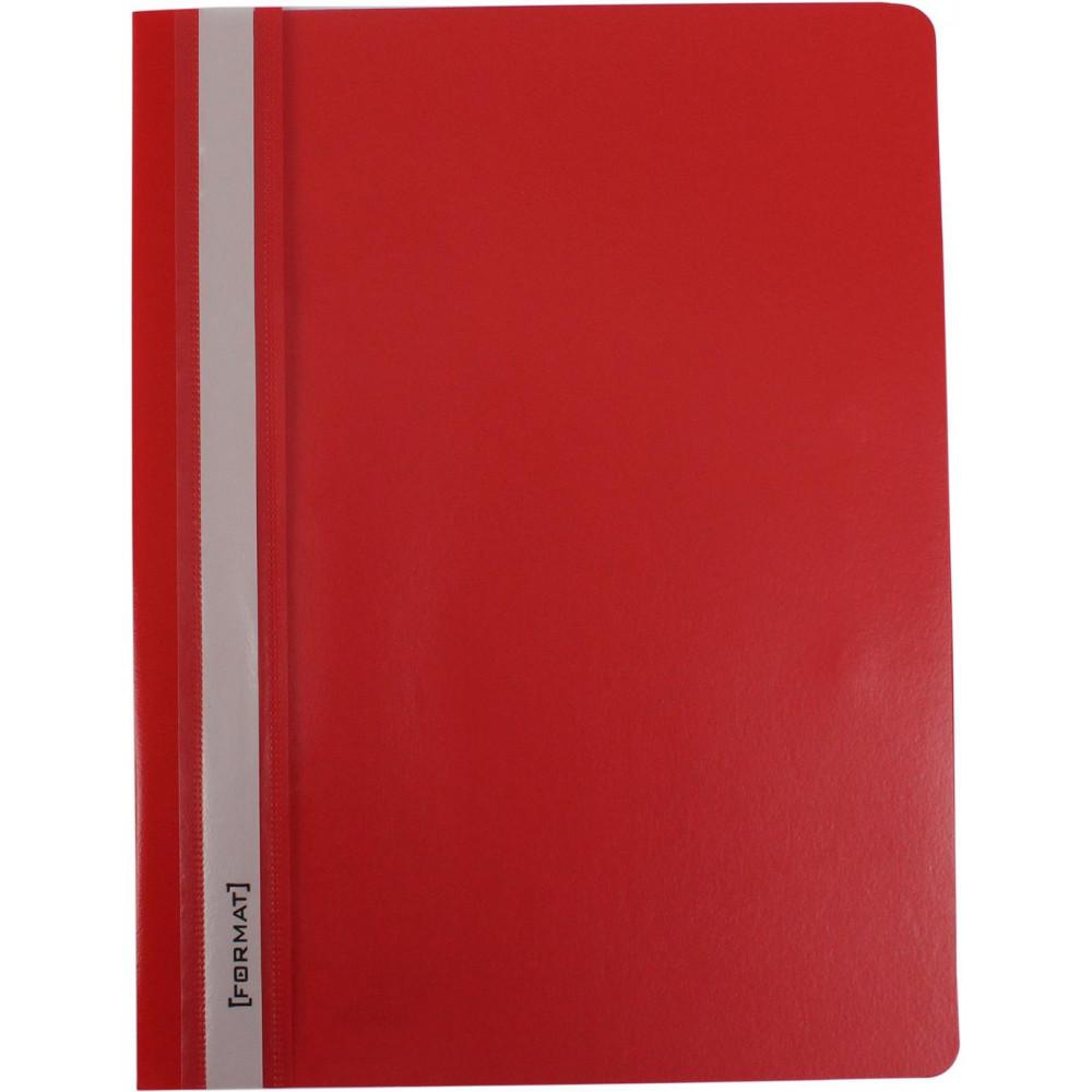 Папка-скоросшиватель Format F38503-03 А4 с перфорацией рифленая прозрачный верх красная