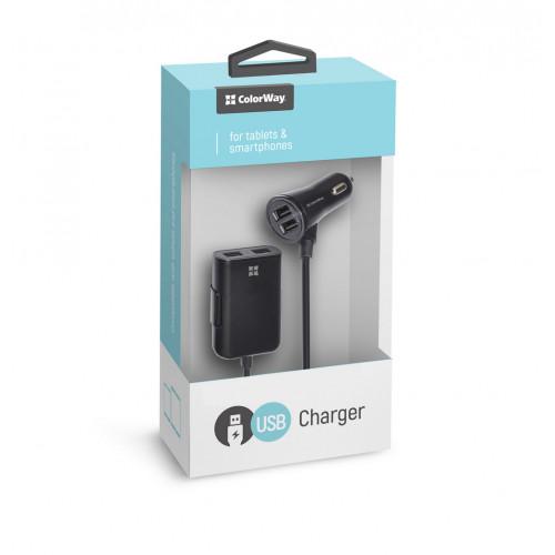 Зарядное устройство автомобильное Colorway 4 USB 4,8A с кабелем 1,5 м черный №CW-CHA005-BK
