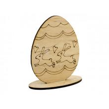 Заготовка фанера декоративное яйцо Зайчики 10см