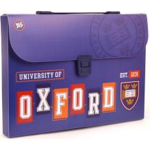 Папка-портфель Yes Oxford А4 пластиковая на застежке, с ручкой (12) №491445