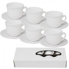 Сервиз чайный керамический 12 предметов 6 чашек 190 мл и 6 блюдец 14 см Белый (11) (72) №30084-00