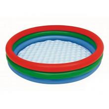 Бассейн детский круглый 3 кольца, надувное дно, 102х25 см, в коробке 25х25 см (12) №BW51104