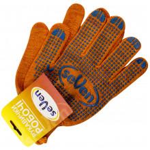 Перчатки трикотажные Seven рабочие оранжевые с ПВХ синей точкой 10 класс 703/78412/877